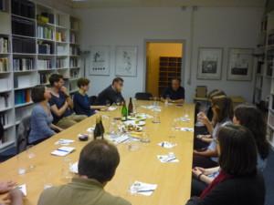 Wallstein-Verleger Thedel von Wallmoden im Gespräch mit den Jungen Verlagsmenschen Foto: © Stephan Brünig