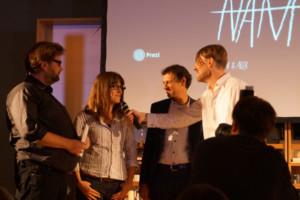 Die Gewinner des Melusine-Huss-Preises: Jörg Sundermeier (Verbrecher Verlag) und Autorin Anke Stelling © Sandra van Lente